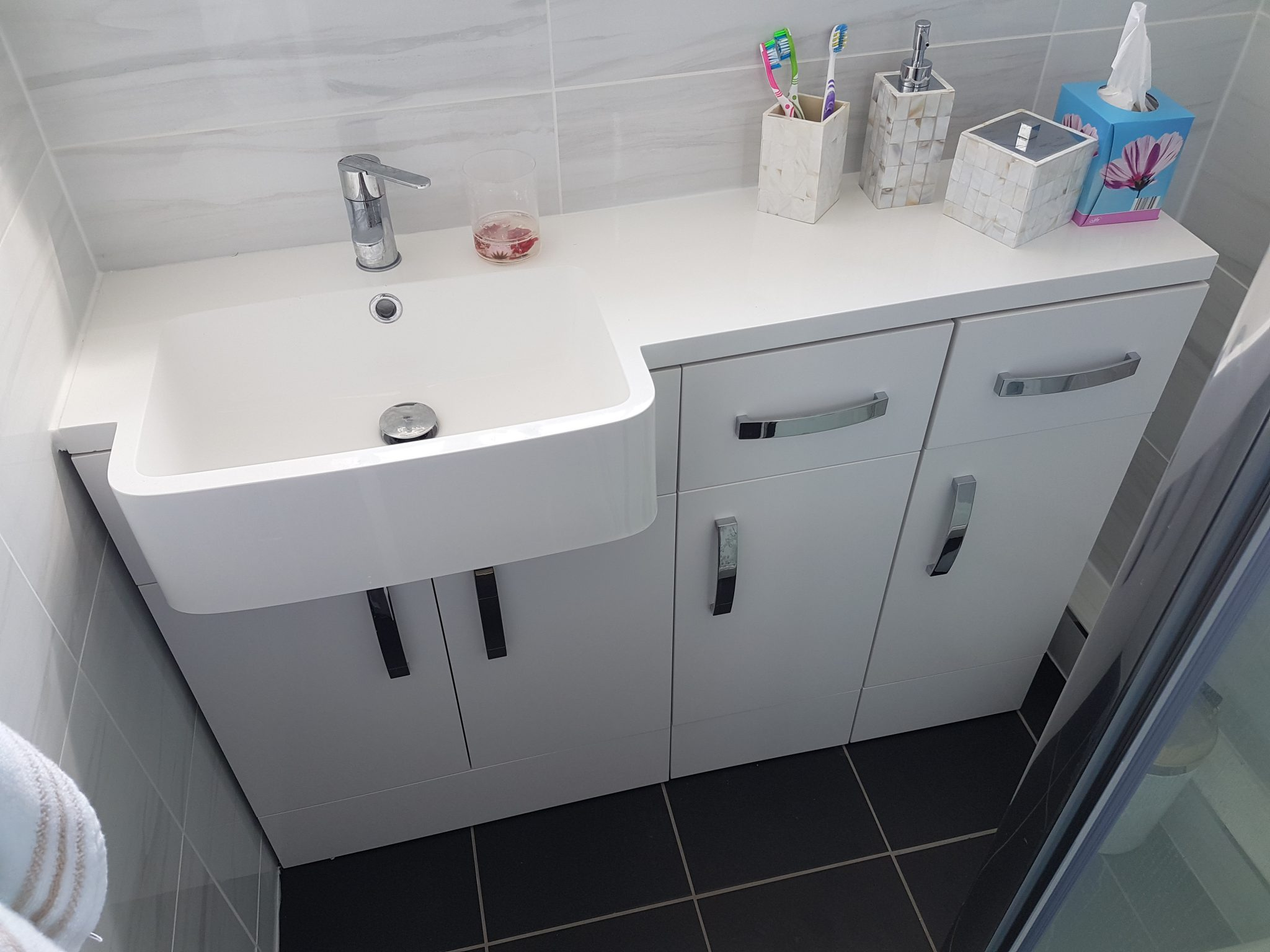 Shower room with storage